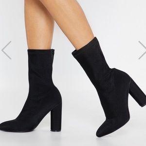 Block heel sock bootie like new black size 10
